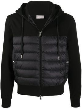Moncler cotton hooded jacket with feather-down padding - Black
