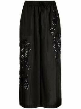 P.A.R.O.S.H. sequin-embellished cropped trousers - Black