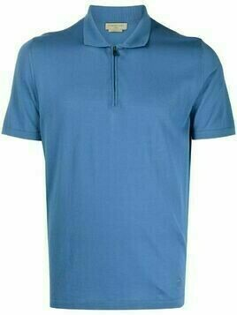 Corneliani zipped cotton polo shirt - Blue