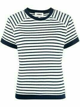 YMC Daisy cut-out striped T-shirt - White