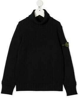 Stone Island Junior logo patch rib-trimmed jumper - Blue