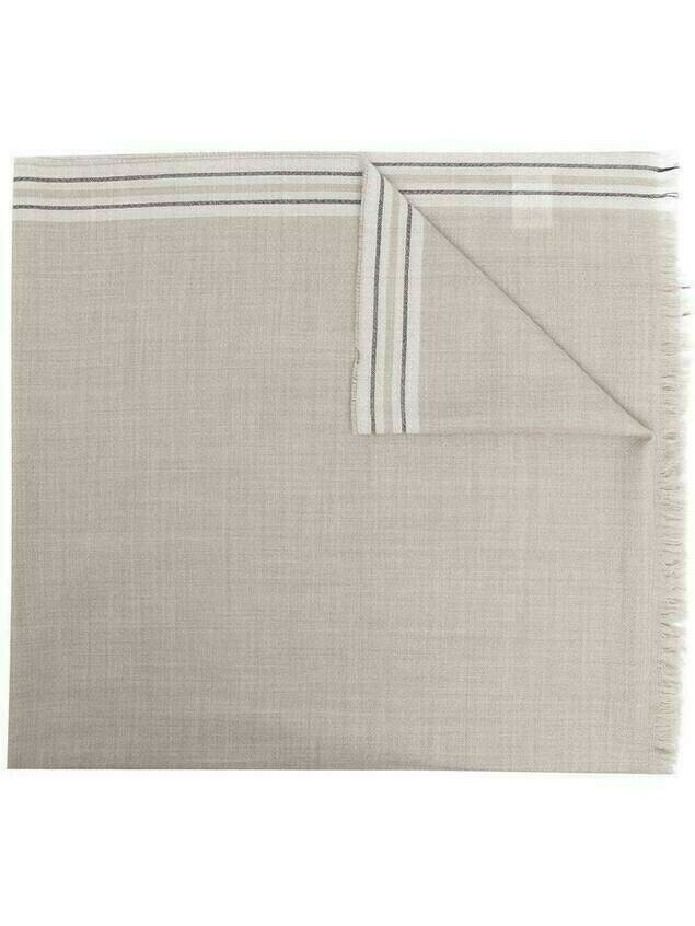 Brunello Cucinelli stripe detail scarf - Neutrals