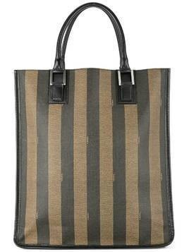 Fendi Pre-Owned striped logo tote - Brown