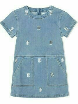 Burberry Kids monogram-embroidered denim dress - Blue
