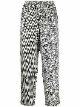 Pierre-Louis Mascia multi-print straight leg trousers - White
