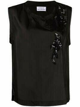 P.A.R.O.S.H. sequin-embellished silk vest top - Black