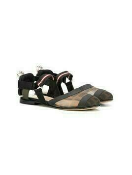 Fendi Kids motif detail ballerinas - Black