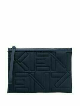 Kenzo logo-embroidered quilted pouch - Blue