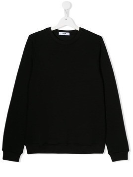 Msgm Kids TEEN fringed back sweatshirt - Black