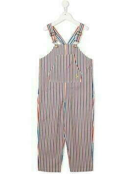 The Animals Observatory striped cotton dungarees - White