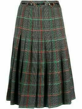 Céline Pre-Owned pre-owned pleated check skirt - Black