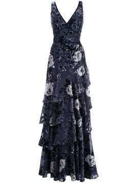 Marchesa Notte floral tiered gown - Blue