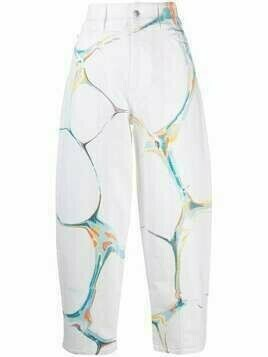 Stella McCartney marble-print high-waisted jeans - White