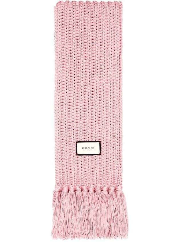 Gucci logo patch knitted wool scarf - PINK