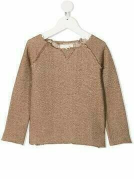 Douuod Kids roll-edge cotton jumper - Neutrals