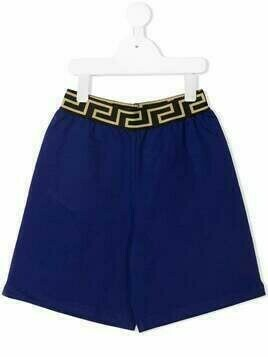 Young Versace Greca waistband shorts - Blue