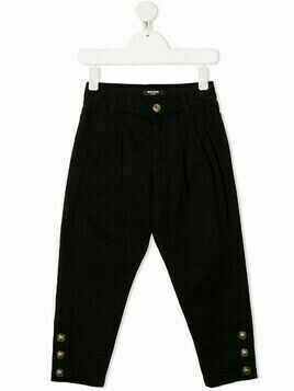 Balmain Kids buttoned-cuff trousers - Black