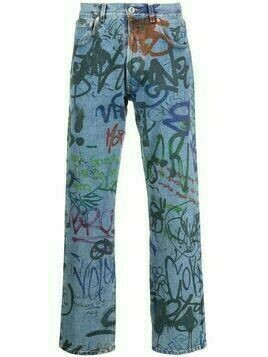 VETEMENTS graffiti-print straight-leg jeans - Blue