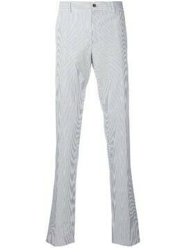 Pt01 striped print straight leg trousers - White