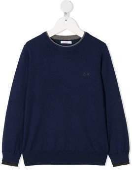 Sun 68 Kids long-sleeve knitted jumper - Blue