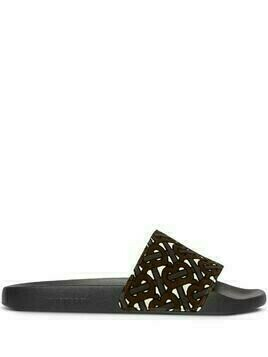 Burberry motif print slides - Brown
