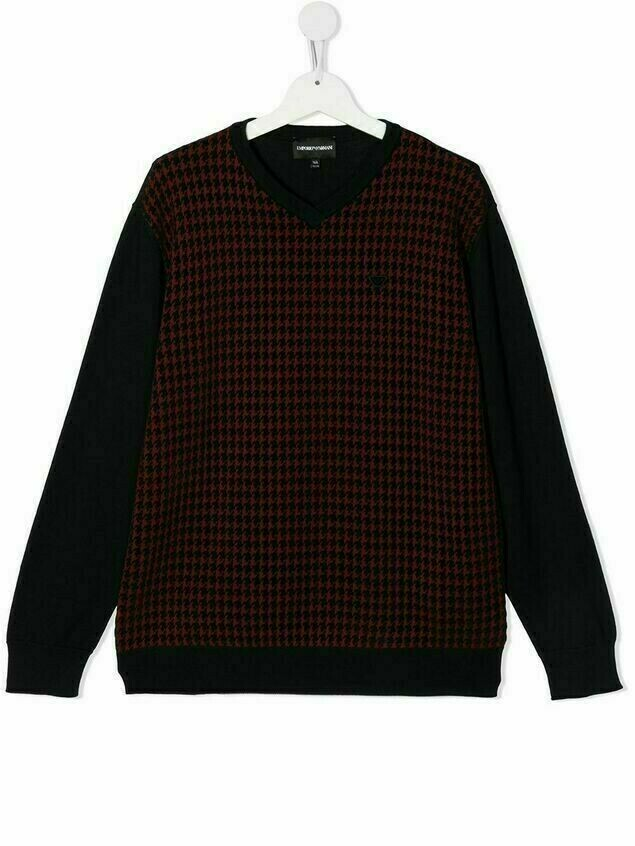 Emporio Armani Kids TEEN houndstooth-print knitted jumper - Red