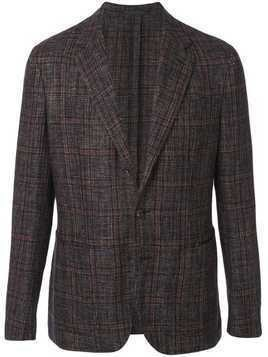 Caruso single-breasted check blazer - Black