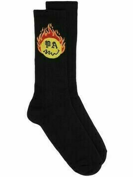 Palm Angels jacquard burning head socks - Black