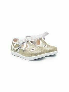 Monnalisa glitter heart ballerina shoes - GOLD