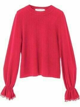 Carolina Herrera lace-trim cashmere jumper - PINK