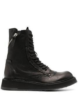 Cinzia Araia lace-up leather combat boots - Black