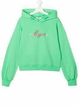 Msgm Kids TEEN logo-print cotton hoodie - Green