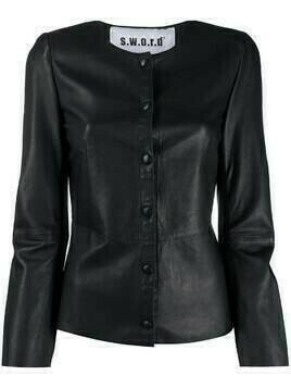 S.W.O.R.D 6.6.44 collarless leather jacket - Black