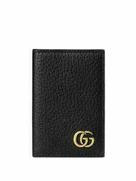 Gucci logo-plaque leather cardholder - Black