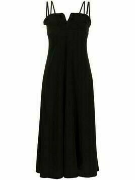 Y's draped spaghetti-strap midi dress - Black
