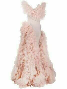 Loulou ruffled-tulle layered gown - PINK