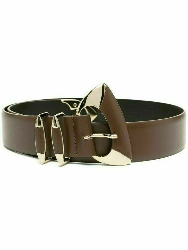 Alberta Ferretti geometric-buckle belt - Brown