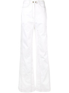 Ellery contrast stitching wide leg trousers - White