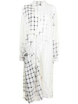 Y's check-print shirt dress - White