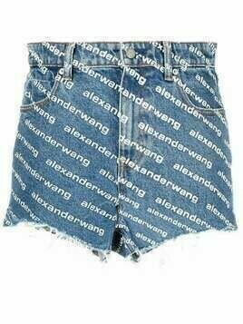 Alexander Wang logo print denim shorts - Blue