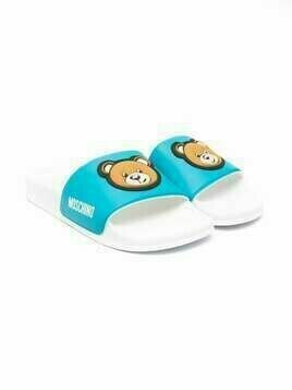 Moschino Kids teddy bear motif slides - White