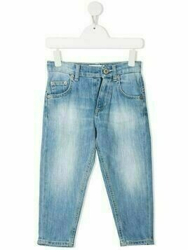 Dondup Kids stonewashed stretch-cotton jeans - Blue