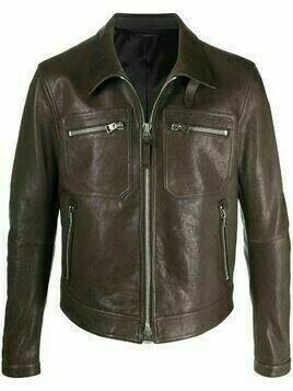 Tom Ford zip-up leather jacket - Brown