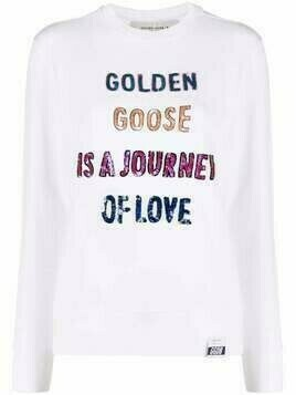 Golden Goose sequinned-slogan sweatshirt - White