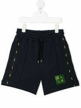 Msgm Kids logo-tape shorts - Blue