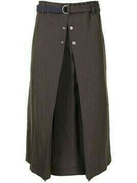 Bed J.W. Ford herringbone wide-leg cropped trousers - Brown