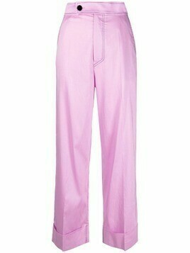 Aeron cropped straight-leg trousers - Purple