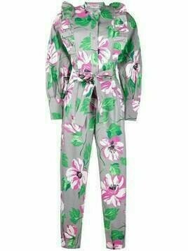 Essentiel Antwerp floral-print long-sleeve jumpsuit - Grey