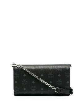 MCM monogram pattern wallet-on-chain - Black