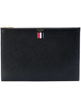 Thom Browne flat logo clutch - Black